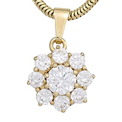 2 Colour Cubic Zirconia Flower Pendant 375 Yellow Gold Necklace Pendant