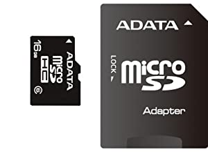 ADATA 16 GB Micro SDHC Card Class 6 with SD Adaptor AUSDH16GCL6-RA1
