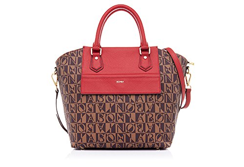 bonia-womens-calf-leather-with-ny-lux-trimmed-monogram-vinyl-monogram-shopper-one-size-red