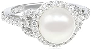 Sterling Silver 8.5-9.0mm Freshwater Cultured Pearl and CZ Ring, Size 7