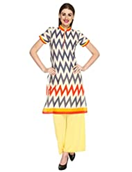 Fashion205 Offwhite And Grey Printed Cotton Long Kurti - B00ZL7VJSO