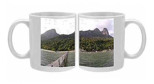 Photo Mug Of Rainforest, Volcanic Twin Peaks - Bukit Batu Sirau And Bukit front-948259