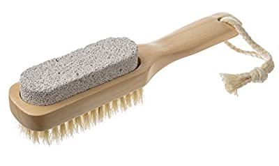 EasyLifeCare Natural Bristle Pumice Stone Body Skin Brush and Callus Remover with Wooden Handle - 100% Natural and Earth Friendly Pumice Material Scrub And Healthy Bristle Brush with Dutch Wood Handle plus Cotton Hanging Loop - Lightweight Mildly Abrasive