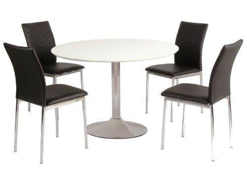 Jadella Flavio Table de salle à manger design Ronde Blanc/chromé 90 cm