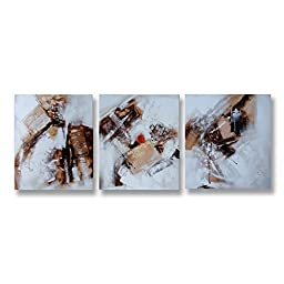 Neron Art - Handpainted Abstract Oil Painting on Gallery Wrapped Canvas Group of 3 pieces - NewcastleuponTyne 24X8 inches