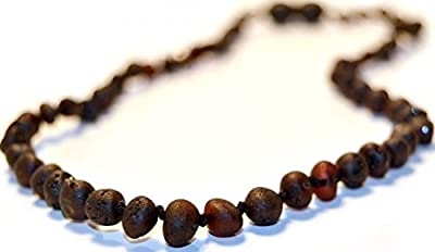 *The Art of CureTM *SAFETY KNOTTED* Raw Black Cherry -(Unisex) - Certified Baltic Amber Baby Teething Necklace Highest Quality Guaranteed- Anti Inflammatory, Drooling & Teething Pain. Easy to Fastens with a Twist-in Screw Clasp Mothers Approved Remedies!