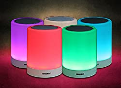 5 CORE Candle Multimedia Bluetooth-enabled Speaker aka Hands-free Speakerphone with Smart Touch LED Mood Dimmable Lamp, SD card, AUX Input, 3.5mm Audio Cable, USB DC 5V Charging port with Multicolor lighting (Warm White, Green, Pink, Red, Sky Blue).