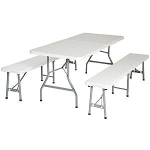 Tectake conjunto de mesa y 2 bancos plegables muebles para for Mesas plegables para camping