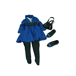 Journey Girls 18 inch Doll Fashion Outfit - Blue Dress with Black Leggings and Mary Jane Shoes
