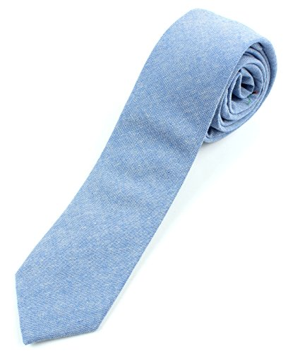 Men's Chambray Cotton Skinny Necktie Tie - Light Blue (Mens Cotton Ties compare prices)