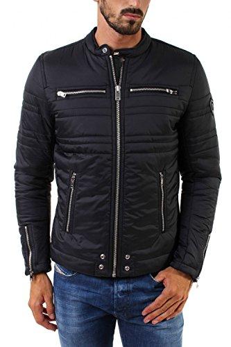 Diesel-Giacche-Pantaloni Nero Biker mai cerniera giacca imbottita per uomo Black XX-Large