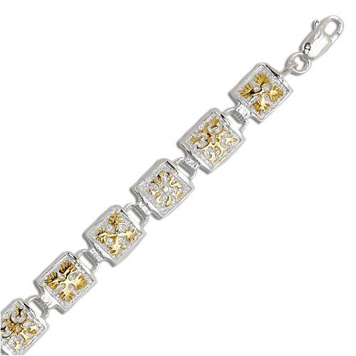 Sterling Silver Two Tone Quilt Link Bracelet
