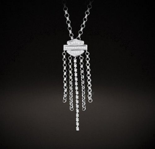 Harley-Davidson® Stamper Sterling Silver 18mm Bar & Shield Waterfall Necklace. White Zirconias. NCR0009