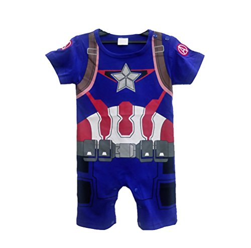 Rush Dance One Piece Super Hero Baby Muscle Superman Superboy Romper Onesie Cape (90 (12-18M), Captain America)