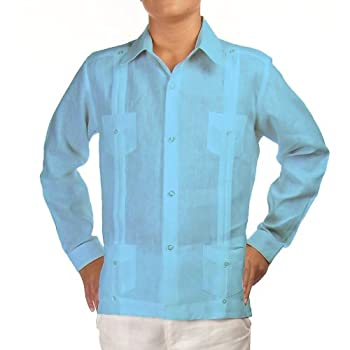 Boys linen guayabera shirt in turquoise. Final sale