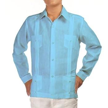 Boys linen guayabera shirt in turquoise. Final sale