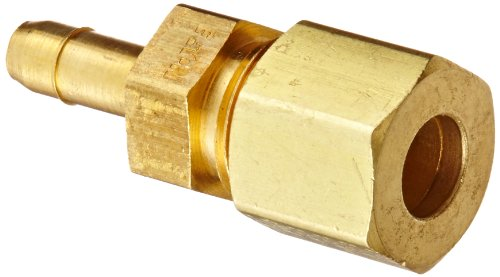 "Eaton Weatherhead 1078X4X4 Brass Ca360 Mini-Barb Brass Fitting, Compression Connector, 1/4"" Tube Od front-630822"