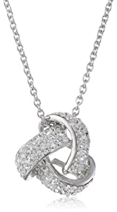 "Sterling Silver Crystal Love Knot Pendant Necklace, 18"" from Athra NJ, Inc."
