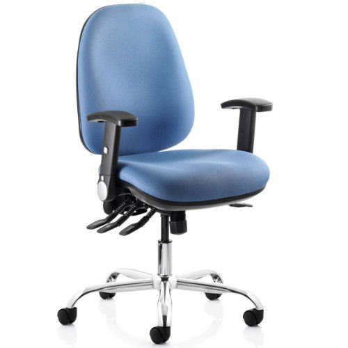 REACT Comfortable Heavy-Duty Computer Chair with Chrome Base (23 Stone capacity, Blue)
