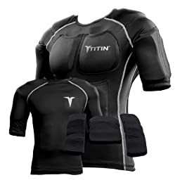 The TITIN Force Weighted Shirt System - 8 Lbs Of Hydro-Gel Inserts - 1 14-Pocket Inner Compression Shirt - 1 Outer Compression Shirt (Large, Black)