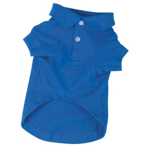 Zack & Zoey Cotton Polo Dog Shirt, Small, 12-Inch, Nautical Blue