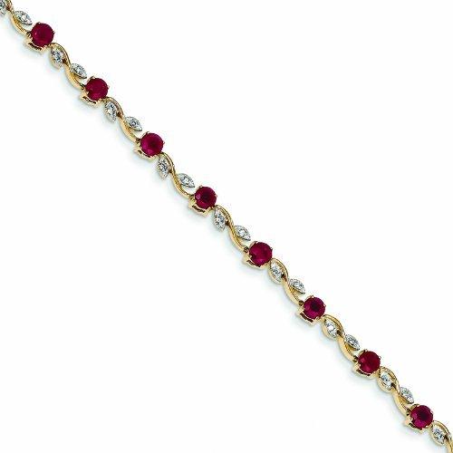 PriceRock 3.9 Carat 14K Gold Diamond And Ruby Bracelet