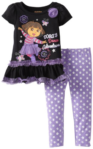 Nickelodeon Little Girls' Dora 2 Piece Polka Dot Pullover And Pant, Black, 5 front-1031494