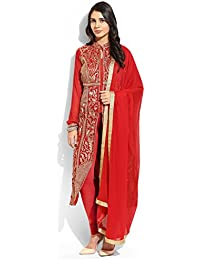 Yehii Semi Stitched Salwar Suit For Women Free Size Party Wear Dress Material Red | Georgette , Pure Georgette...