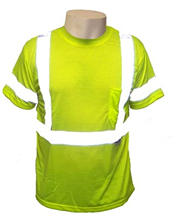 Global Glove GLO-018 FrogWear Polyester Class 3 Safety T-Shirt with 3M Scotchlite Reflective, 4X-Large, Fluorescent Yellow (Case of 50)
