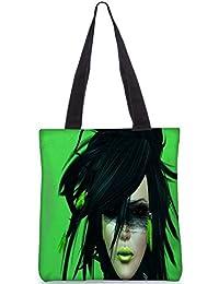 Snoogg Green Feather Girl Digitally Printed Utility Tote Bag Handbag Made Of Poly Canvas