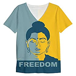 Snoogg Buddha Freedom Mens Casual V Neck All Over Printed T Shirts Tees
