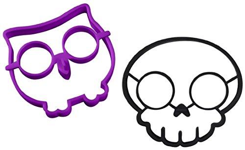 Ozera Silicone Egg Mold Ring, Purple Owl Shaped Egg Ring & Black Skull Shaped Egg Ring, Set of 2