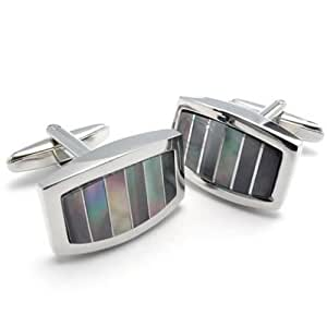 Konov Jewellery 2pcs Classic Novelty Shirts Men's Cufflinks Wedding, Color Colorful Silver, 1 Pair (with Gift Bag)