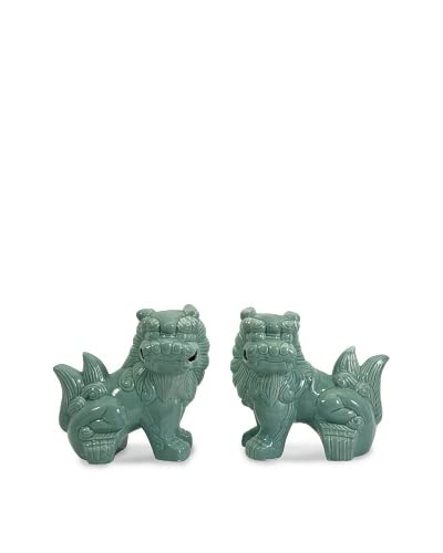 Set of 2 Choo Foo Dogs, Green