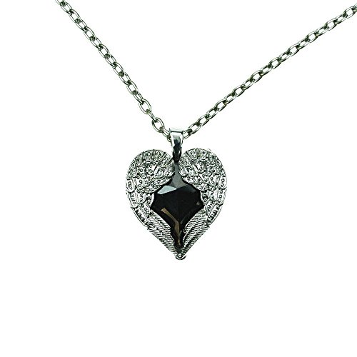 Poizen Industries-Gothic collana beflügeltes cuoricino-Wing Heart Nero