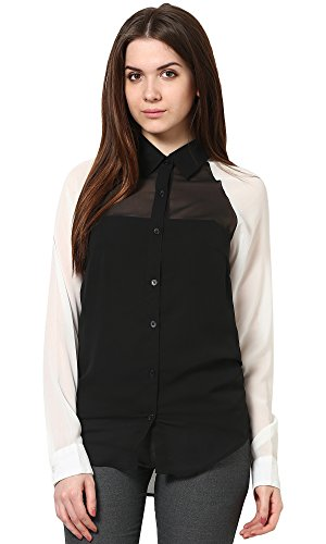 The Gud Look Women's Polyester Black Black White Shirt  available at amazon for Rs.249