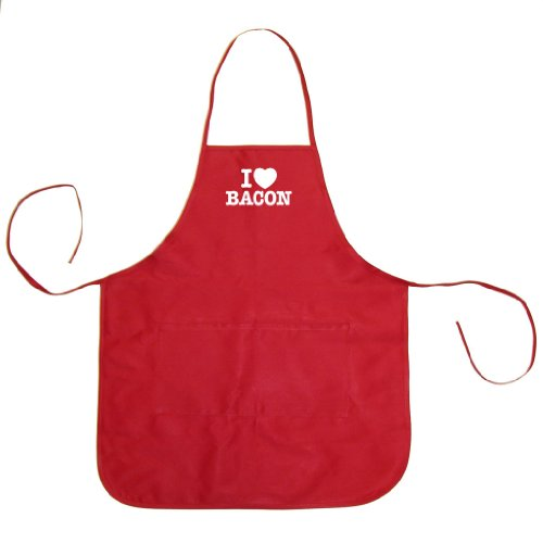 Tasty Threads I Love (Heart) Bacon Adult BBQ Cooking & Grilling Apron (Red, One Size)
