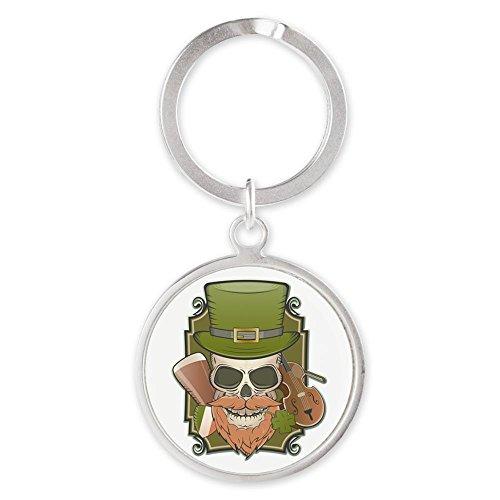 Round Keychain St Patricks Irish Skull