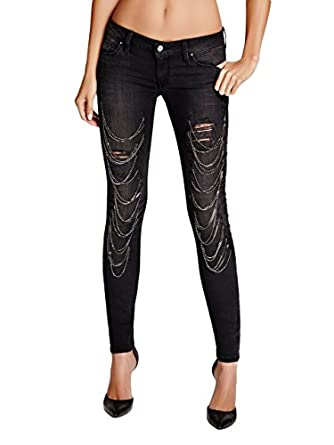 GUESS Women's Low-Rise Skinny Jeans with Chains in Faded Noir Wash