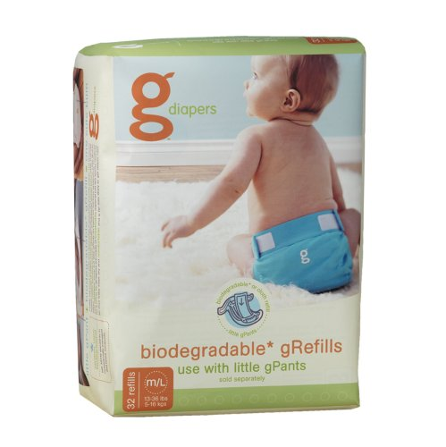 gDiapers Biodegradable Diapers Refills, Medium/Large, 32 Count Bags (Pack of 4)