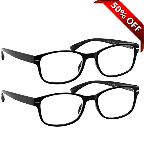 WayFarer Reading Glasses 2 Pack Black _ Always Have a Timeless Look, Crystal Clear Vision, Comfort Fit With Sure-Flex Spring Hinge Arms & Dura-Tight Screws _180 Day Guarantee + 4.50 (Readers 450 compare prices)