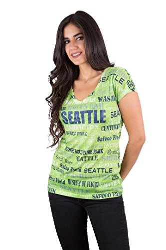 seattle-t-shirt-featuring-mint-green-blue-and-white-this-soft-v-neck-womens-t-shirt-lists-different-