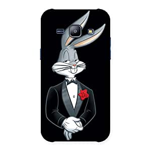 Enticing Smart Bunny Black Red Back Case Cover for Galaxy J1