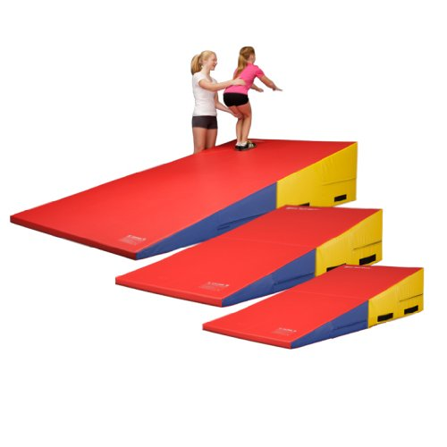 We Sell Mats IN15MED-MC Rainbow Gymnastics Folding Incline Cheese Wedge Skill Shape Tumbling Mat Medium 60