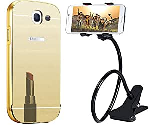 Uni Mobile Care Metal Bumper Frame with Acrylic Mirror Back Cover For Samsung GalaxyA7 (2016) - Golden + Black Universal Flexible Long Arms Mobile Phone Holder for Car Desktop Bed Table
