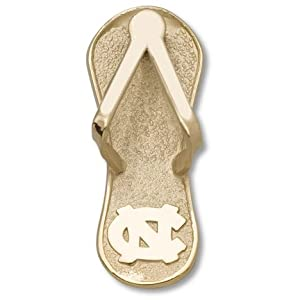 North Carolina Tar Heels 1 NC Flip Flop Pendant - 14KT Gold Jewelry by Logo Art