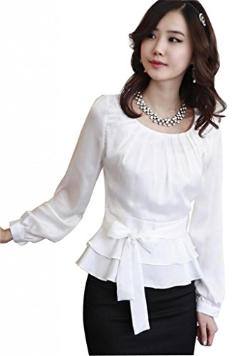DPO Women's Chiffon Pleated Slim Fit Long Sleeve Round Neck Blouse,White Tag Size: L, US Size: 8