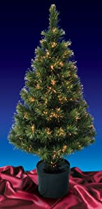 #!Cheap 5' Pre-Lit Color Changing Fiber Optic Artificial Christmas Tree - Multi Lights