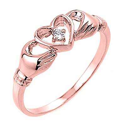 10k Rose Claddagh Ring Gold with Diamond Solitaire