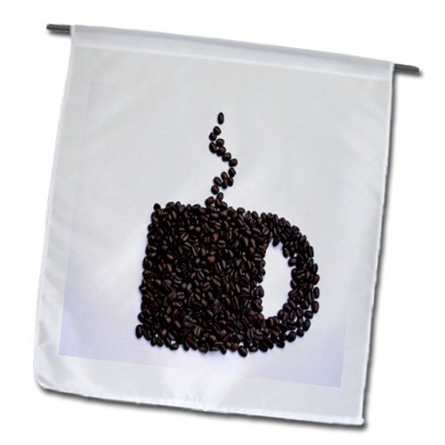 Florene - Food And Beverage - Print Of Coffee Cup Made Of Coffee Beans - Flags - 12 X 18 Inch Garden Flag - Fl_200408_1
